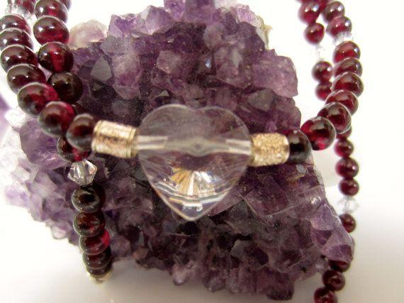 Wine Red Garnet Necklace Womens Garnet Choker with Heart