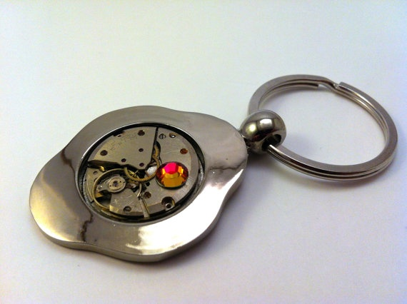 SteamPunk Key chain with a 21 Jeweled Clockwork by fuegodelcorazon, $28.00