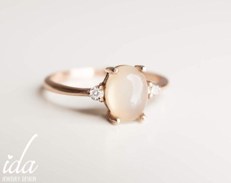 Moonstone Engagement Ring - Rose Gold Engagement Ring - Diamond Engagement Ring - Rings - Cluster Ring - Engagement Rings for Women by IdaJewelryDesign on Etsy https://www.etsy.com/listing/521340535/moonstone-engagement-ring-rose-gold