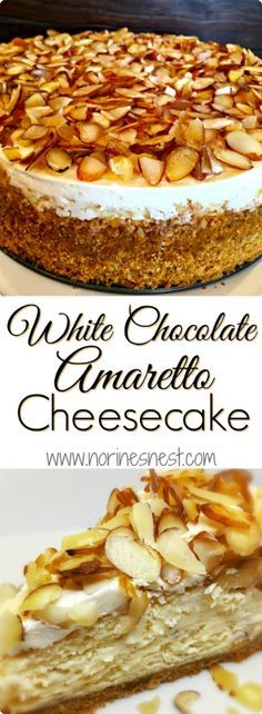 Creamy Rich White Chocolate Almond and Amaretto Cheesecake topped with sliced almonds in an Almond Amaretto Graham Cracker crust. It's pretty much TO DIE FOR!