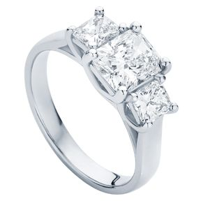 A dramatic three stone engagement ring the 'Allure' with radiant and princess cut diamonds.