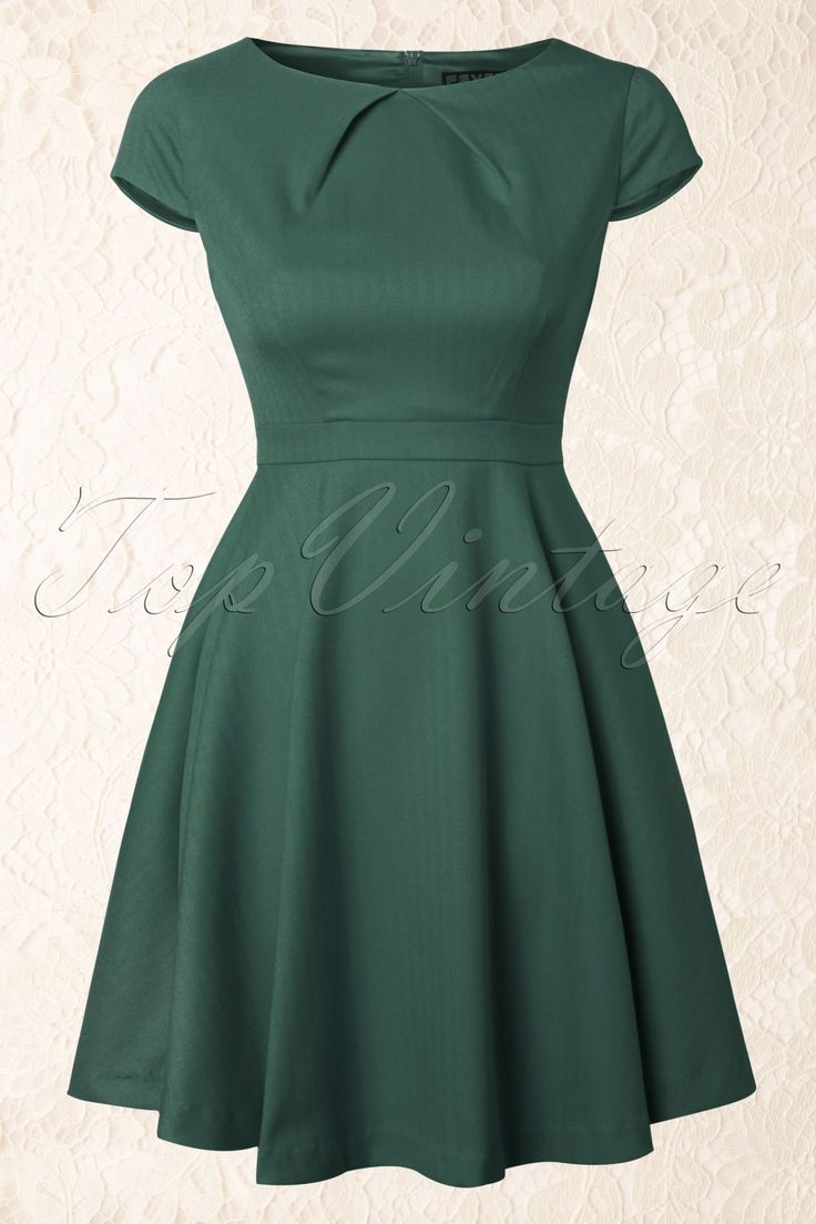 Fever - Canary Wharf Fit and Flare Dress in Green