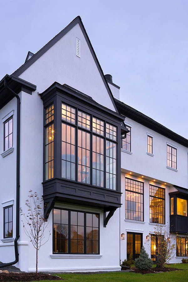 Modern Tudor Home With Black Windows Tudor House Exterior White