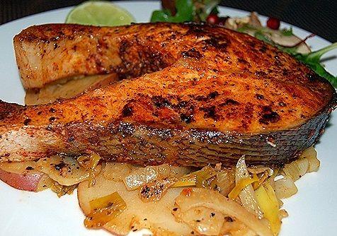 Baked Fresh Salmon Steak Recipe - http://healthyrecipesideas.com/baked-fresh-salmon-steak-recipe/
