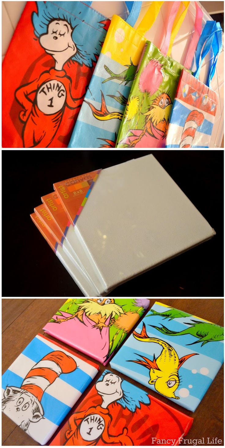 DIY Dr. Seuss Wall Art. This could be used for any similar wall art.