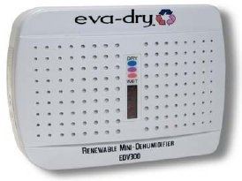 http://dehumidifiersystems.com/mini-dehumidifier/ This mini dehumidifier has been design to adsorb moisture from small enclosed areas (maximum area: 10'x 10').  It will help protect clothes and valuables from the damaging effects of mold/mildew and moisture rot.  It is 100% renewable and needs no power to operate.  Just hang the eva-dry unit in a closet, or you can place it in other small enclosed spaces, and it will start to adsorb moisture.  Th...