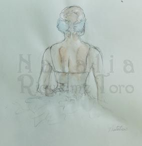estudio de bailaina en acuarela, tinta y pluma