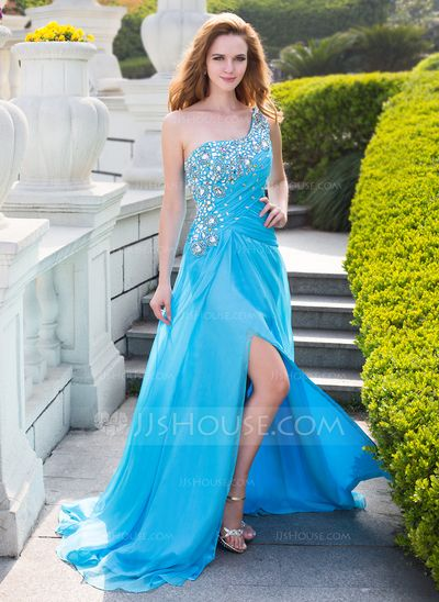 Prom Dresses - $156.99 - A-Line/Princess One-Shoulder Sweep Train Chiffon Prom Dress With Ruffle Beading (018024652) http://jjshouse.com/A-Line-Princess-One-Shoulder-Sweep-Train-Chiffon-Prom-Dress-With-Ruffle-Beading-018024652-g24652