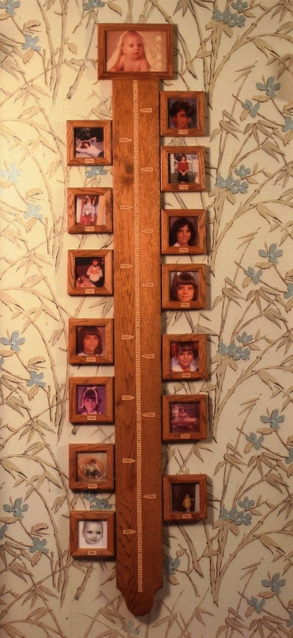 Solid Oak Growth Chart With Positional Picture Frames By Babygc