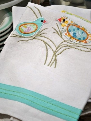 Appliqued Songbird Tea...  Tea towels are something every kitchen needs both for practical uses and to accessorize      Rebekah Zaveloff