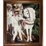 """overstockArt Rivera Agrarian Leader Zapata with Verona Cafe Oil Painting, Coffee Brown Patina Finish with Bead Detail - #art #artwork #popularartwork #paintings #homedecor -   20"""" X 24"""" Oil Painting On Canvas A Handmade art reproduction of Diego Rive"""