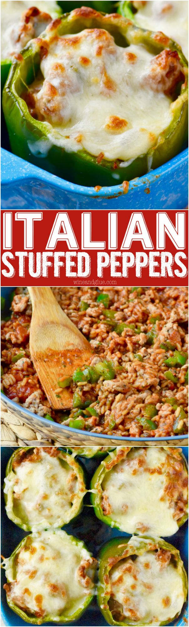 These Italian Stuffed Peppers are a perfect easy weeknight meal! A full, well rounded meal, all in one dish! (Paleo Beef Stuffed Peppers)