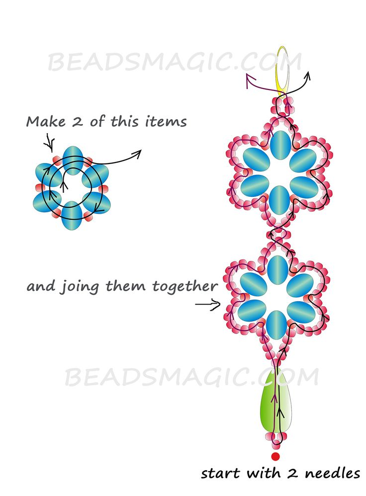free-beaded-earrings-pattern-2 Blue Flowers -make it into a bracelet or necklace-- 1 of 2 see picture (earrings)