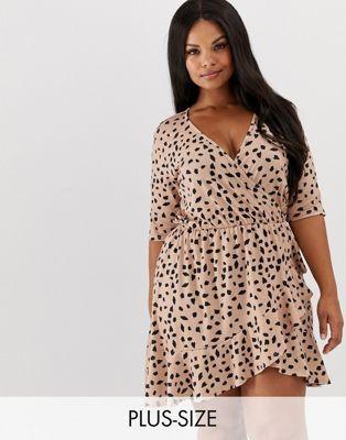 40bc12a53123 Pink Clove wrap dress in dalmatian spot print in 2019   Barcode ...