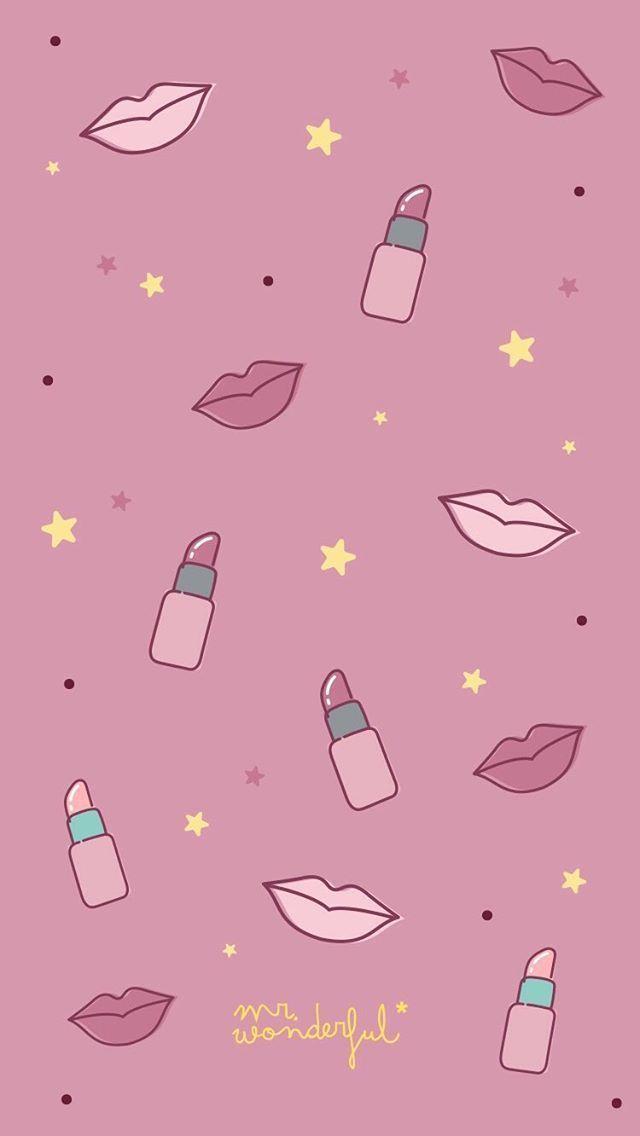 Lipsticks Wallpaper Makeup Lipsticks Wallpaper Lipsticks Wallpaper Lippenstifte Tapete Fond D Ecr In 2020 Kawaii Wallpaper Wallpaper Iphone Cute Lip Wallpaper
