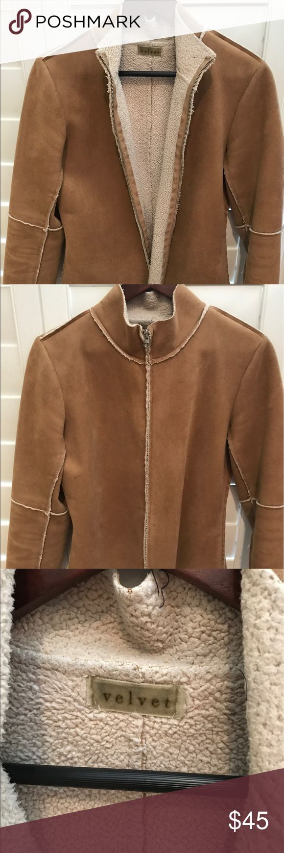 Suede Zip up Beige jacket with folding sleeves Soft suede polyester Faux Sherling zip up jacket with light accents and light weight. Summer nights! and great for Fall. Velvet Jackets & Coats