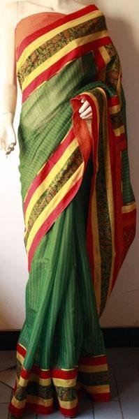 ritika mittal's 'mora' saree - cotton with kalamkari border