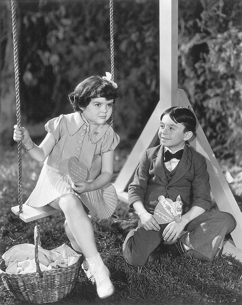 """OUR GANG / THE LITTLE RASCALS ~ Darla Hood and Alfalfa Switzer in 1937's """"Hearts Are Thump."""" ~ On Valentines Day, Spanky, Alfalfa & Buckwheat form the """"He-Man Woman Haters Club,"""" but Alfalfa has second thoughts after Darla invites him to lunch."""