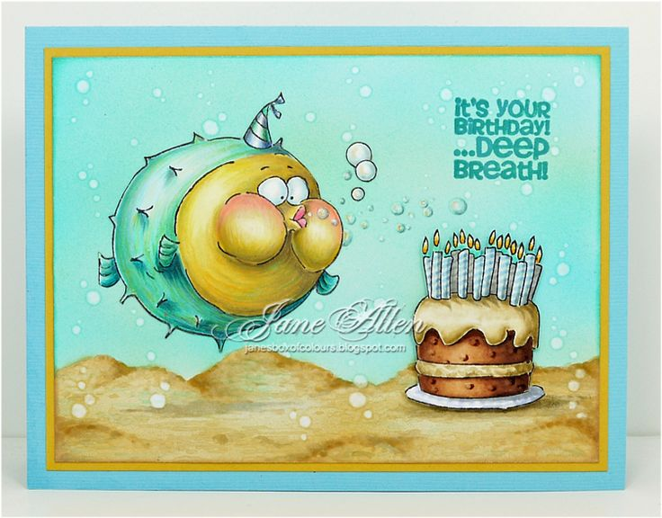 Art Impressions Rubber Stamps: Ai Zoo Crew - Deep Breath set ... handmade underwater Birthday card. puffer fish, cake, sand, bubbles