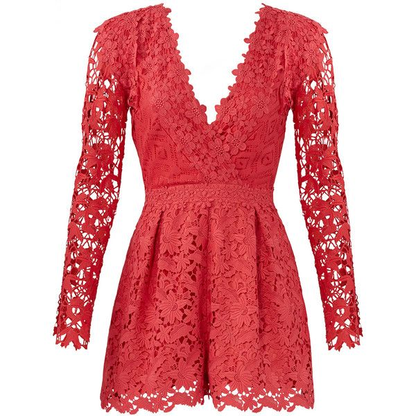 Nicole Miller Coral Lace Romper ($440) ❤ liked on Polyvore featuring jumpsuits, rompers, lace rompers, red rompers, red lace romper, lace romper and playsuit romper
