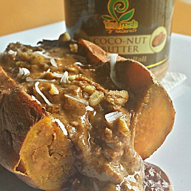 Baked Sweet Potato topped with a Chocolate Fried Banana Mash, Cinnamon ...