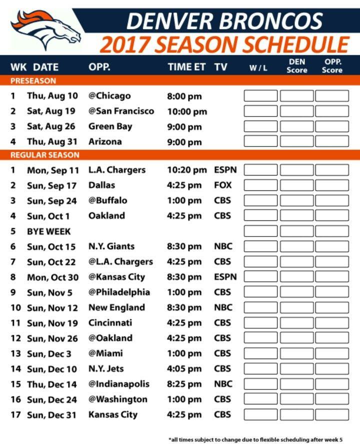 Denver Broncos Schedule: 25+ Best Ideas About Denver Broncos Schedule On Pinterest