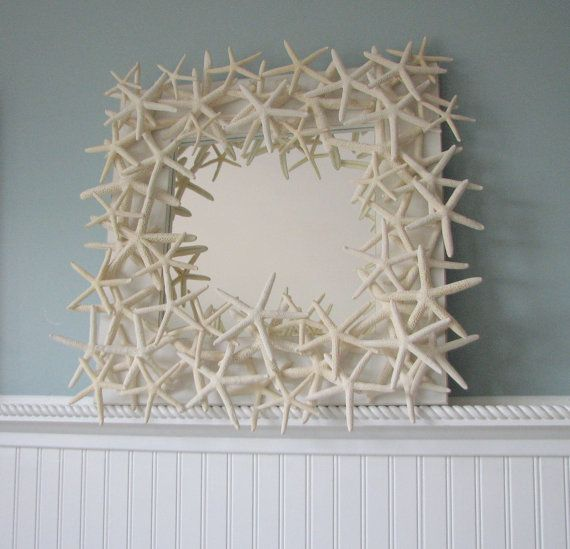 Starfish Mirror - Beach Decor Shell Mirror - Starfish Seashell Mirrors w White Starfish
