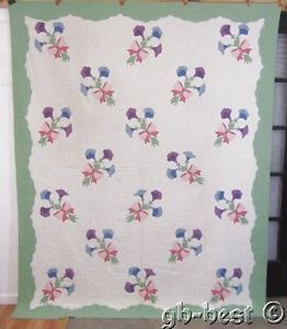 Beautiful 30s Morning Glory Applique Vintage QUILT 93 x 75 Tied with Pink Bows