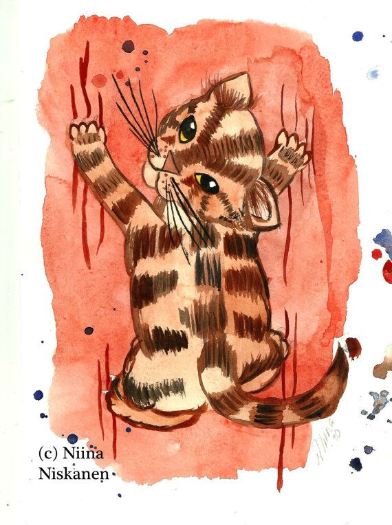 Original Cat Art - All over the place - Watercolor Painting - Cat - Kitty - Kitten - Cat Painting - by Niina Niskanen