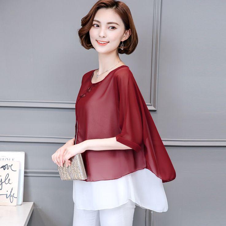 Women Blouses Summer 2017 Batwing Short Sleeve O Neck 4XL Plus Size New Fashion Shirts Chiffon Ladies Tops Femme Blusas De Mujer #Affiliate