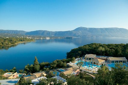 Panoramic views of the Ionian Sea,  the peninsula, little islands  and town of Corfu