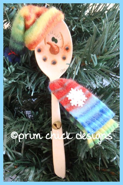 hand painted snowman santa Christmas spoon ornament by primchick, $14.99