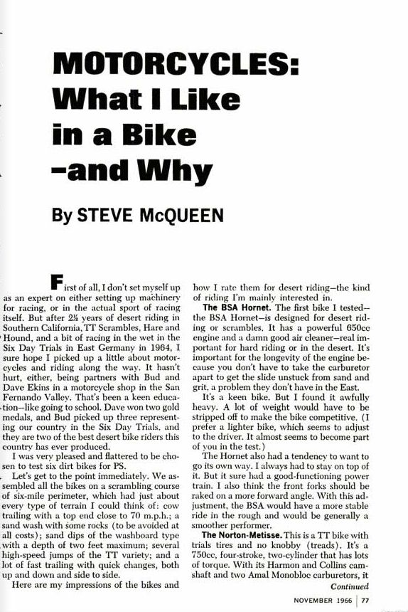 STEVE McQUEEN POPULAR SCIENCE MAGAZINE 1966 2