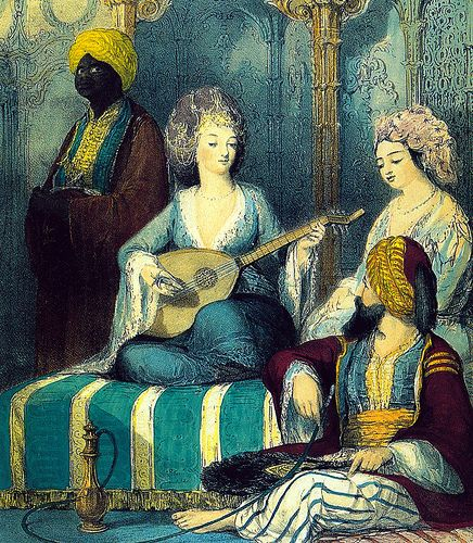 """""""A concubine being tutored under the supervision of a eunuch"""" by Thomas Allom"""