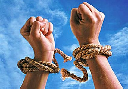 http://www.notdebtagain.com/ Too much personal debt. Hands tied in ropes indicating that the person wants to break free of their credit obligations.