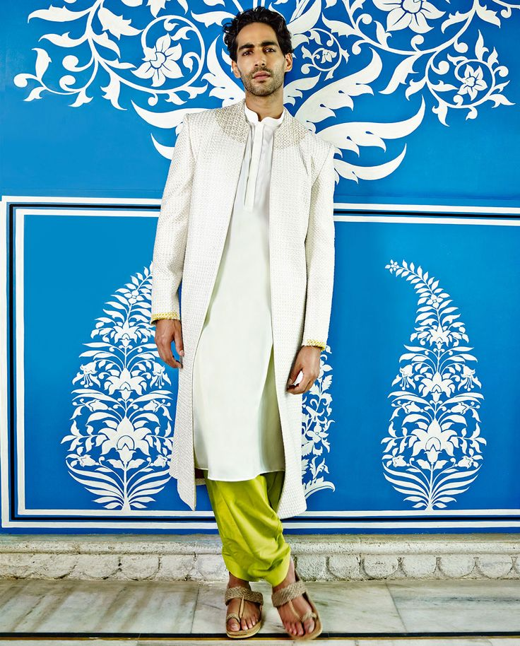 Off White & Lime Green Textured Sherwani Set