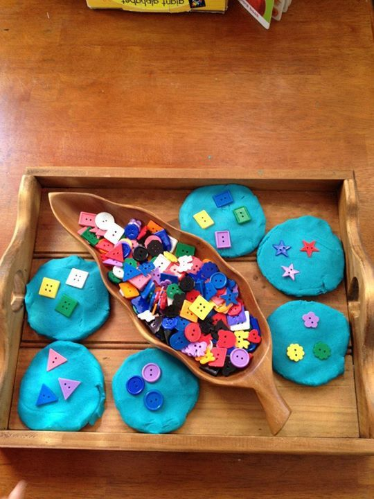 "Exploring shapes on 'play dough plates' by Puzzles Family Day Care ("",)"