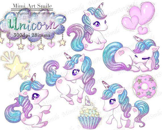 Cute Glitter Unicorn Clipart Set,Rainbow Unicorns Clip art ...