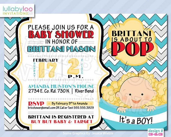 About to Pop Baby Shower Invitations BOY Product No. by LullabyLoo, $18.00
