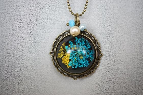 Round She Goes  Handmade Jewellery  - Market Place - Bright Blue and Yellow Pendant Necklace Lace