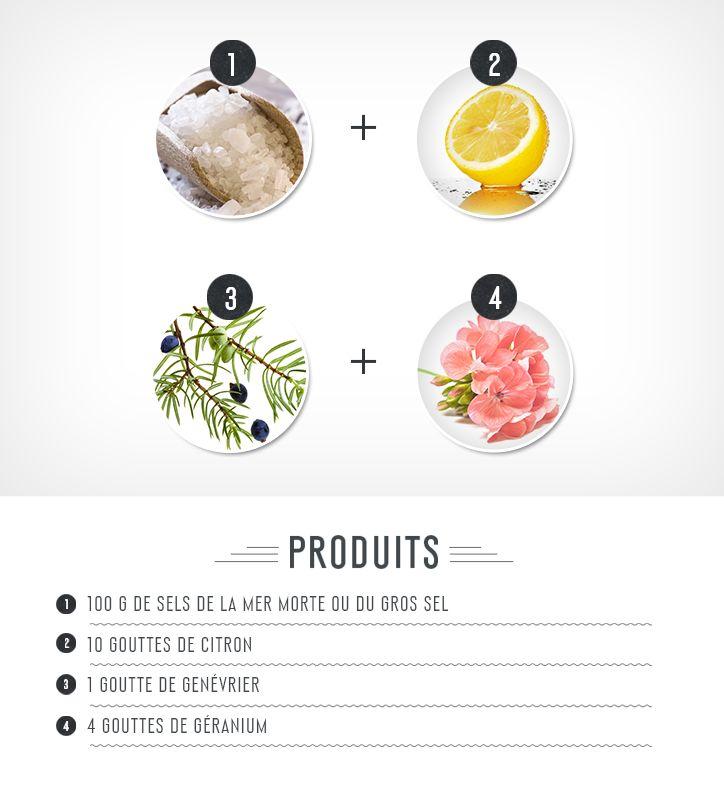 Pour 2 bains : dans un récipient, verser toutes les huiles ensemble avant d'intégrer le sel et de bien mélanger. L'idéal est de faire la préparation à l'avance, elle se conserve très bien dans un récipient hermétique à l'abri de la lumière. Ce bain fait beaucoup transpirer, ce qui permet d'éliminer les toxines, et de rendre la peau plus belle. Les minéraux nourrissent l'épiderme et protègent le sébum, les huiles elles, stimulent le foie et aident à la détox. Deux ou trois fois par semaine.
