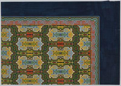 dekverf op papier; ontwerp voor een handgeknoopt Deventer tapijt