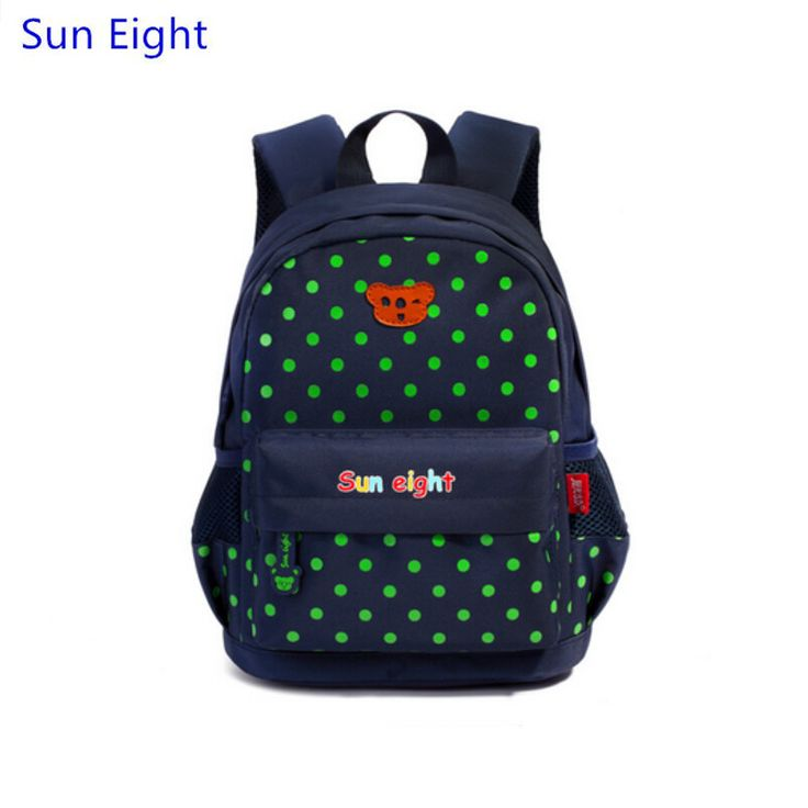 Sun Eight brand dark blue dots mini backpack for kids school bag kindergarten bag student small bag girl polka dot bookbag gift