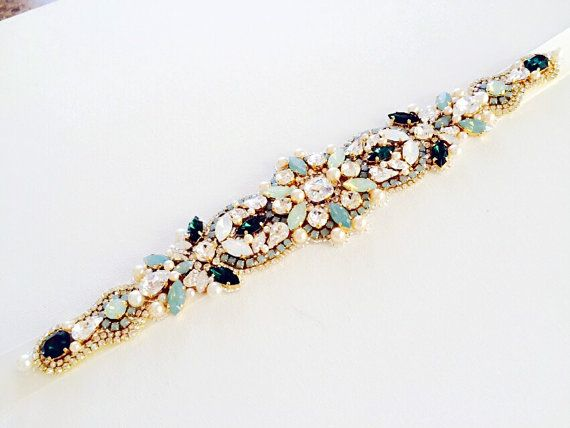 Opal and Green Emerald Bridal Belt-Vintage by KNRHANDMADE on Etsy