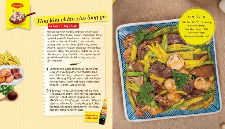 Món xào thắng giải ngày 11/4: Hoa kim châm xào lòng gà từ Tô Thị Thinh. Tham gia góp món xào ngon tại www.365monxao.com để có cơ hội trúng nhiều giải thưởng hấp dẫn
