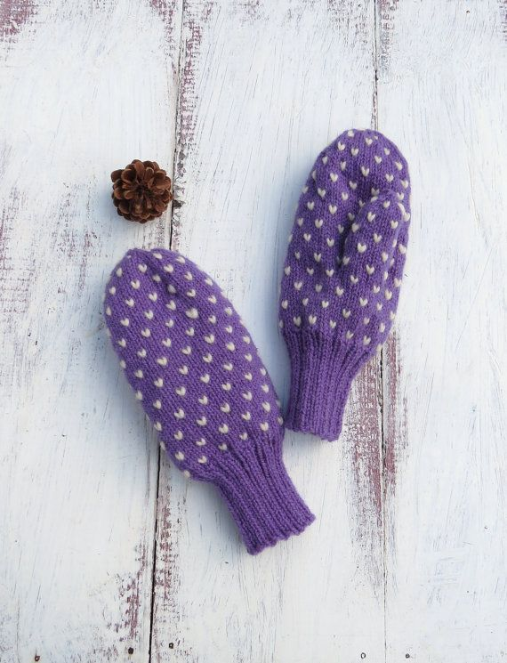 Purple Mauve Thrum Mittens Hand Knit Wool by StoneyCreekKnitters, $36.00