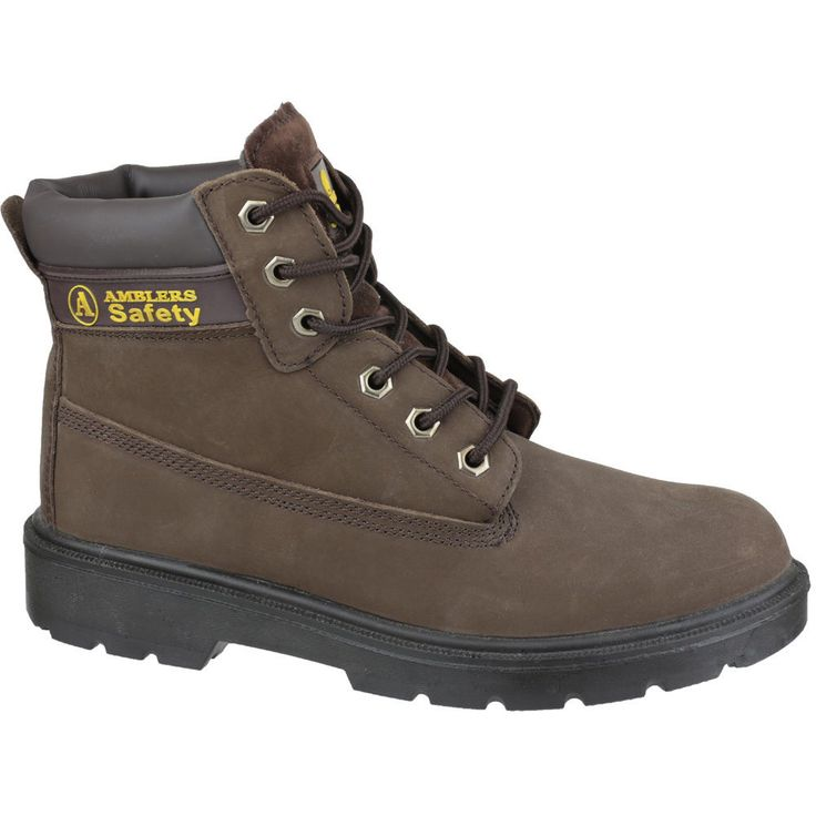 Brown Safety Boot With Steel Toe Cap And Midsole Protection. Smooth Leather Upper. Pu Sole (Sole Resistant To 200?. C Oil, Acids And Solvents). Pu Sole (Sole Resistant To 200 Degrees Celsius Oil, Acids And Solvents). | eBay!