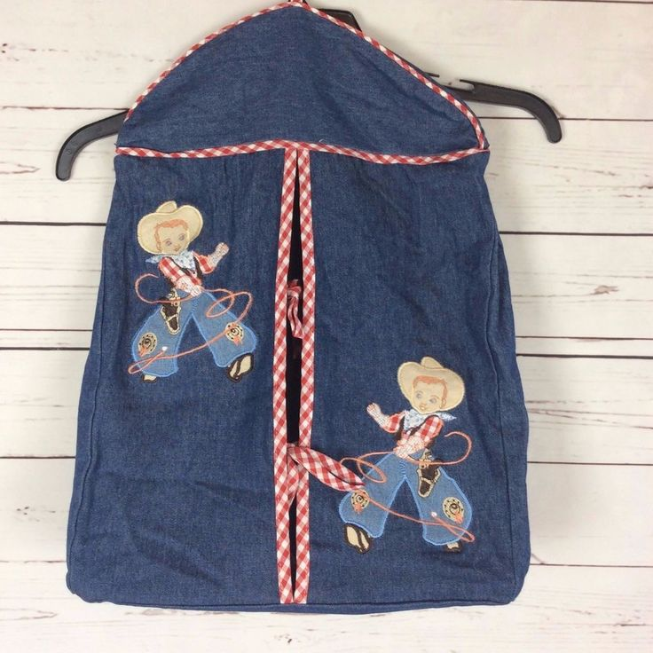 Vintage Cowboy Nursery Decor Western Roping Diaper Holder Stacker Cowboys #Unbranded