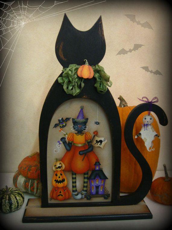 Black Cat,Halloween Decor,Cornice a forma di gatto,Stampa su tela,Canvas print,Ghost,Pumpkins