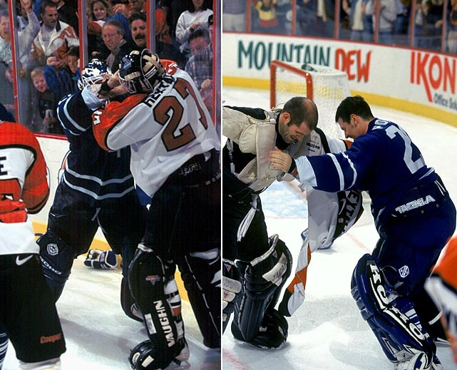 Felix Potvin vs. Ron Hextall - November 10, 1996, I will never EVER forget this fight!  I remember sitting on my couch watching the game by myself LOOSING it watching my fav tendie fight Hextall